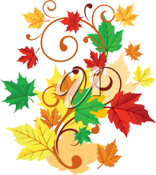 Autumnal background with colorful leaves for seasonal decorations
