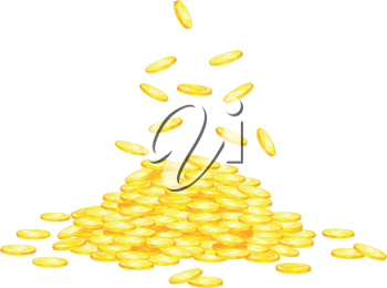Stack of golden coins for wealth or lucky concept design