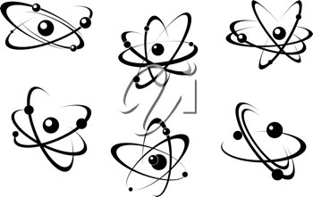 Science and biology atoms symbols set for research concept