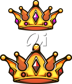 Vintage royal crown for heraldry design isolated on white background