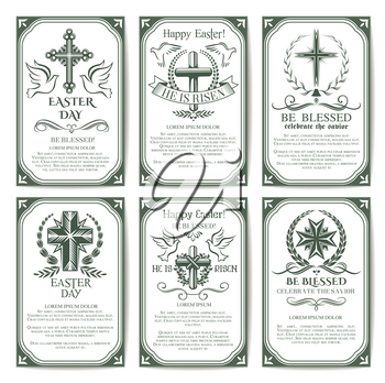 Easter cross religious poster set. Crucifix cross symbol with laurel wreath, palm branches and flying dove birds, supplemented by text layouts for Easter holiday banner and flyer design