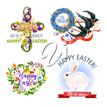 Easter icons of paschal hut eggs and bunny, holy crucifix cross of floral heart bouquet and crocuses flowers wreath on flying swallows. Happy Easter religion holiday vector greeting design elements
