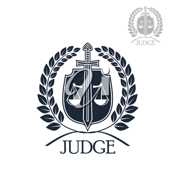 Lawyer firm, judge and law office symbol. Scales of justice with sword on heraldic shield framed by laurel wreath. Advocacy, justice, attorney protection themes design