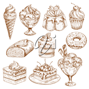 Pastry, desserts and cakes vector sketches. Pie and muffin cupcake, berry tart and pudding. Patisserie chocolate brownie or donut and cheesecake biscuit for bakery shop or ice cream cafeteria