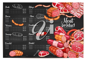 Meat farmer market or butchery delicatessen price or menu template. Vector meat products of brat wursts, bacon or wiener and frankfurter sausages, ribeye steak, hamon and brisket