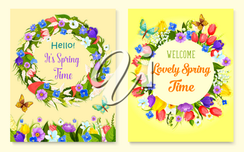 Hello spring flower frame and floral wreath cards. Springtime holiday flower wreath of tulip, narcissus, snowdrop, lily of the valley, crocus with red ribbon, butterfly. Spring celebration design