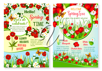 Spring Sale vector posters set for springtime holiday shopping discount offer. Floral design of blooming red poppy or white crocuses blossoms and butterflies in flourish bouquets on spring grass field