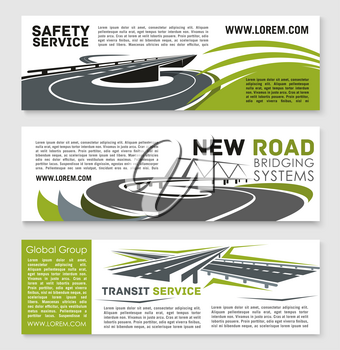 Road safety and construction technology service vector banners set for highway bridge and motorway tunnels building and transportation repair company. Design with bridging and tunneling systems