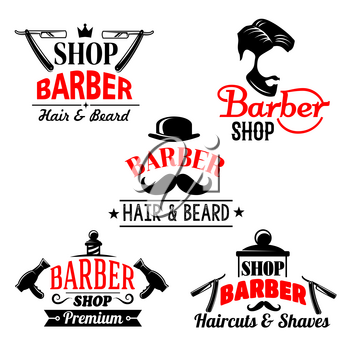 Barber shop and men hair studio premium icons set. Vector isolated symbols of man beards and mustaches haircuts. Barber tools shaving razor or hairbrush comb and scissors for hairdresser hipster coiff