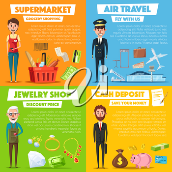 Shopping, jewelry, air travel and finance service and profession vector posters set. Grocery seller or cashier, jeweler with diamond gems and aircraft pilot, bank manager or businessman with money and