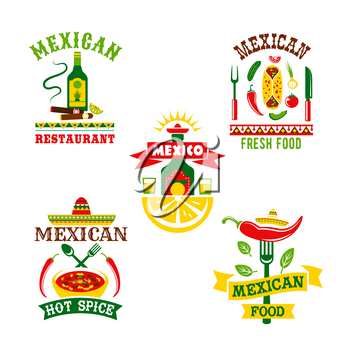 Mexican restaurant or food cafe vector icons set. Isolated symbols of spicy chili pepper jalapeno, tequila drink and lime, nachos chips with salsa sauce or soup and traditional sombrero hat for Mexico