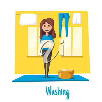 Laundry or clothes and linen washing poster. Vector homework design of young woman or housewife hanging fresh bedclothes or wear from washing machine or basin on rope to dry