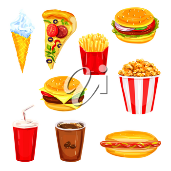 Fast food restaurant lunch watercolor set. Hamburger, burger, hot dog, pizza, french fries, coffee and soda drinks, cheeseburger, popcorn, ice cream cone hand drawn illustration for fast food design