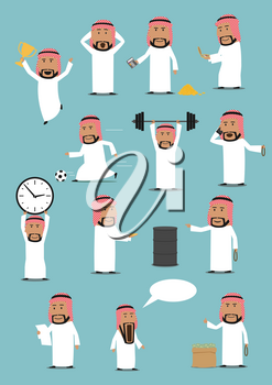 Arabian businessman in national clothes cartoon set. Arab man talking by mobile phone, selling oil, standing with money bag, oil tank, calculator, clock, champion cup, reading, playing football