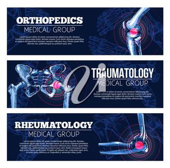 Orthopedics, traumatology and rheumatology medical banners set. Vector design of x-ray bones and joints of human body legs knee or foot, spine and arm hand or wrist and shoulder arthritis and trauma
