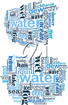 Water tag cloud for internet and web design