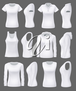 Women clothes and sportswear apparel mockup 3D realistic model, blank front and side view. Vector white t-shirts, sport tank tops and hoodies, casual polo or sleeveless shirt templates
