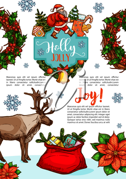 Merry Christmas sketch design for seasonal greeting card or winter holiday wish. Vector Santa present gift bag and reindeer, New Year decoration holly wreath garland of golden bell on Christmas tree