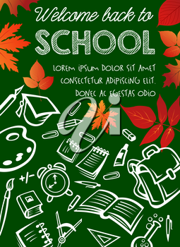 Back to School autumn eduction season poster on green chalkborad background. Vector mathematics formula, school bag or geography globe and biology microscope or literature book and paint brush