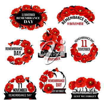 Remembrance Day red poppy flower wreath icon with black memorial ribbon. World War soldier and veteran Memory Day design with British legion poppy flower