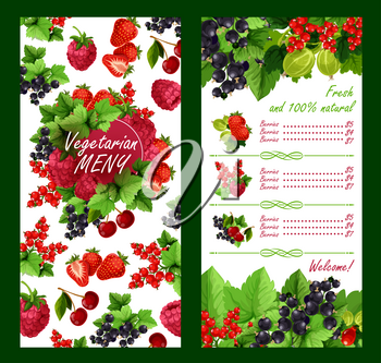 Fresh berries price list template for farm fruit market. Vector harvest design of garden strawberry, gooseberry or red currant and raspberry, blackcurrant or cherry and forest blueberry or blackberry