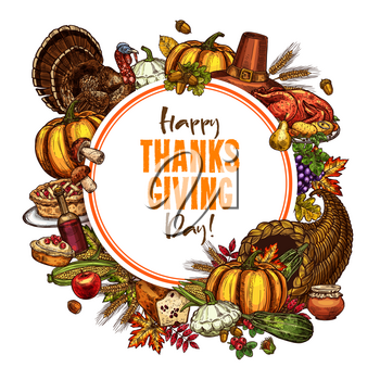Thanksgiving day sketch poster of traditional roasted turkey chicken and fruit pie, pumpkin or corn and mushroom harvest in cornucopia. Vector autumn maple leaf design for Happy Thanksgiving greeting