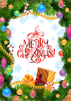 Merry Christmas greeting wish on snowflake pattern background in Xmas tree frame. Vector Santa present gift with Christmas holiday gingerbread cookie snowman and star, candy cane and snowflakes