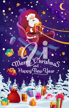 Santa delivering Xmas gifts on Christmas sleigh vector design. Claus with New Year presents and red bag flying on reindeer sledge over snowy forest trees, Merry winter holidays greeting card