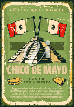 Cinco de Mayo sketch retro poster for Mexican holiday greeting card or fiesta invitation. Vector Cinco de Mayo vintage design of Mexico flag on Maya or Aztec pyramid, burrito and tacos quesadilla