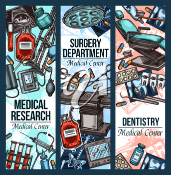 Medical research center, dentistry and surgery or treatment therapy. Vector cardiology, orthopedics and ophthalmology medicine pills, X-ray or cardiogram and orthodontic sketch items