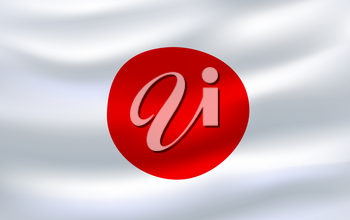 Flag of Japan 3d icon of national country symbol. Japanese official banner waving in the wind with red circle on white field for asian travel, patriotism, government or history themes design