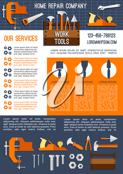 House repair and construction company advertising banner template. Work tool poster with screwdriver, hammer, wrench, pliers, spanner, trowel, knife, saw, toolbox, nails, jack plane and vice icons