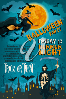 Halloween trick or treat and Friday 13 horror night party poster or invitation card template. Vector design of Halloween pumpkin, witch in moonlight and tomb on black graveyard with bat and spider web