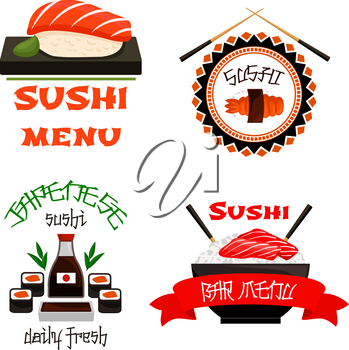 Sushi bar icons for Japanese restaurant cuisine menu template. Vector set of sushi roll, green tea or tempura shrimp, salmon fish maki or seafood noodle soup or rice bowl of tuna sashimi, chopsticks