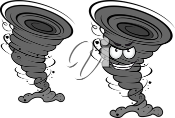 Danger tornado disaster in cartoon style for weather concept or mascot design
