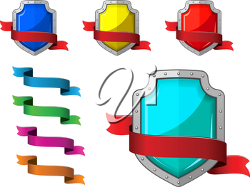 Security icons set with blazons and ribbons for internet design