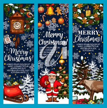 Merry Christmas sketch greeting card or banners design for happy winter holidays. Vector Santa with gift bag on sleigh, snowman at Christmas tree and Xmas decoration garland or New Year holly wreath