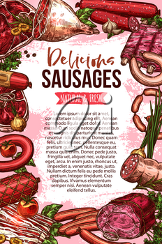 Fresh meat and sausage product sketch banner. Vector beef and pork barbecue steak, ham, chicken sausage, bacon, salami, lamb ribs, gammon leg and wurst frame with text layout for butcher shop design