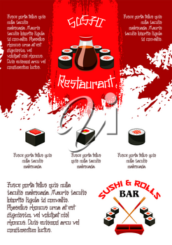 Sushi bar or Japanese food bar menu template or sushi bar. Vector design of sashimi and sushi rolls and salmon fish, bento tempura shrimp with steamed rice and soy sauce or noodles soup and chopsticks