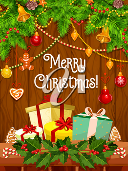 Merry Christmas greeting card design for winter holiday wishes. Vector Santa gifts and Christmas tree lights garland decoration of golden bell, New Year cookie or star and ribbon bow on holly wreath