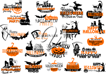 Happy Halloween party or holiday greeting card icons set. Vector set of pumpkin, Halloween scary symbols of witch, zombie and skeleton on graveyard, tombstone and death scythe at coffin and black cat