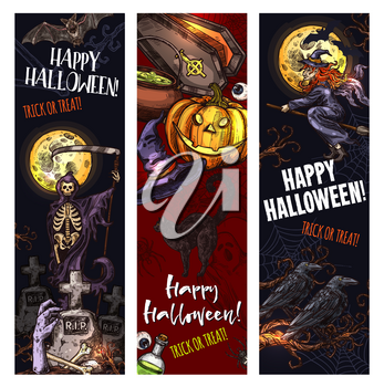 Halloween trick or treat holiday monsters sketch banners for spooky night celebration. Vector pumpkin lantern, zombie hand or skeleton skull in coffin and tombstone on grave and spooky Halloween ghost