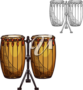 Drums musical instrument sketch icon. Vector isolated folk leather and wood drums or ethnic African djembe percussion for jazz or classic music concert design and orchestra festival