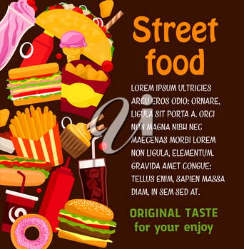 Fast food restaurant dish and drink poster. Hamburger and hot dog sandwich with sauce, fries, donut and ice cream with soda and coffee, chicken nugget and taco for fast food menu cover template design