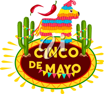 Cinco de Mayo fiesta party pinata icon of mexican holiday greeting card. Colorful paper figure of alpaca and bunting with chili pepper, jalapeno and cactus for Puebla battle victory celebration design
