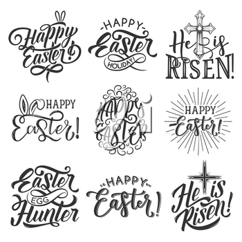 Easter badge set for Spring Holiday celebration template. Easter rabbit ear, egg and crucifix cross with ribbon banner and festive lettering for egg hunt party and He is Risen label design