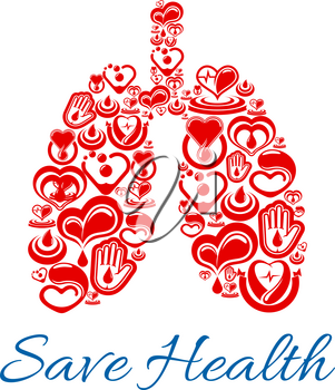Save health poster of lungs human organ symbol combined of vector hearts and cardiology medications Blood donation, donor helping hand and saving life medical concept