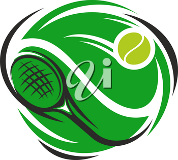 Tennis sport club or league cup tournament icon design template of green playing racket and yellow ball. Vector isolated badge for tennis championship or world cup game