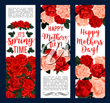 Mothers Day and springtime greeting banners for season holiday wishes. Vector design of red roses and pink flowers bunches of blooming garden blossoms and flourish bouquets
