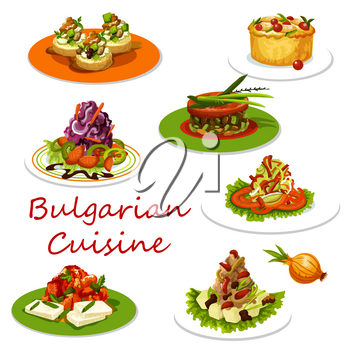 Bulgarian cuisine icon of healthy lunch food. Baked pepper with cheese, zucchini and cheese on toast, cabbage salad, fruit pie and bean stew with beef, mashed potato and liver pate with vegetables